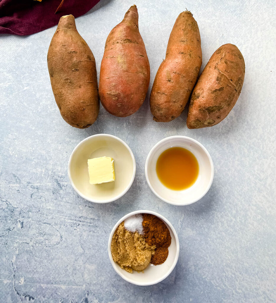 raw sweet potatoes, butter, vanilla, cinnamon, nutmeg, and brown sugar in different bowls