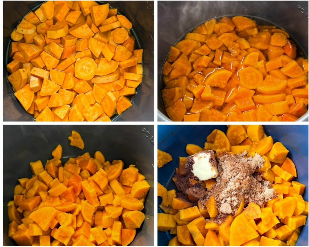a collage photo showing cooked sweet potatoes in a pot