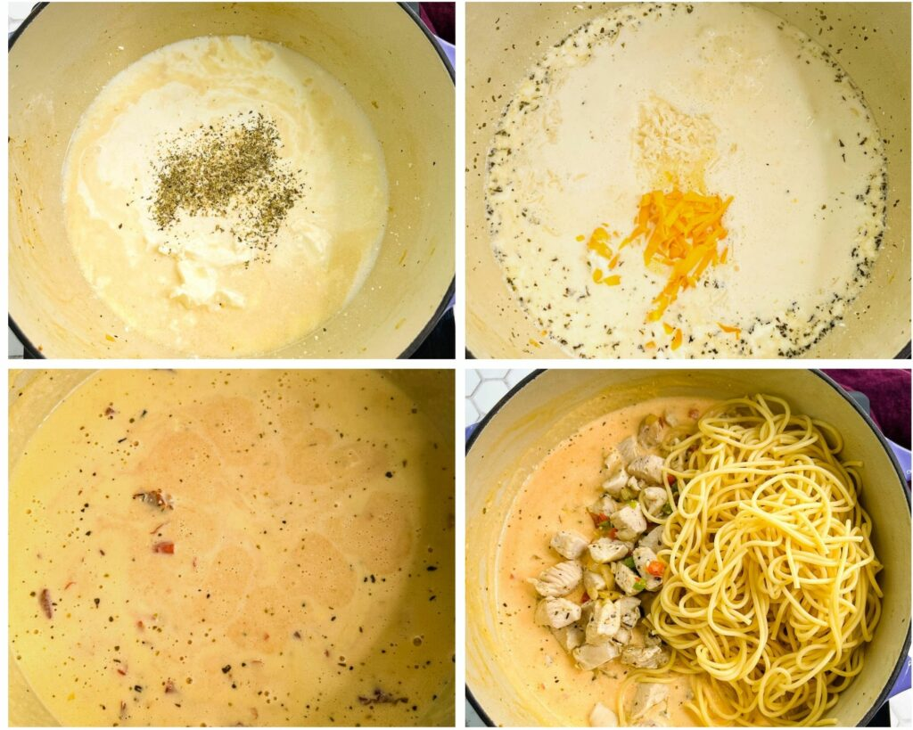 collage of 4 photos showing how to make cream sauce with butter cream cheese and cheddar